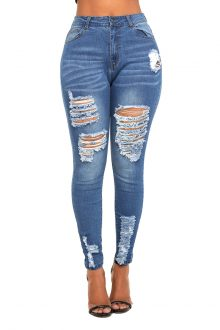 Sylvie Blue Skinny Destroyed Stretch Denim Jeans