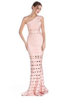 Pink Maxi Cut Out One Shoulder Sleeveless Bandage Dress