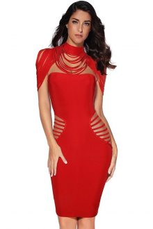 Red Cut Out Halter Sleeveless Mini Bandage Dress