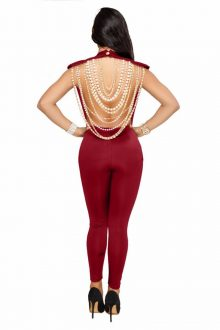 Red Round Neck Back Pearl Jewelry Bandage Jumpsuit