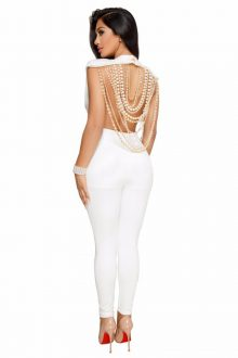 White Round Neck Back Pearl Jewelry Bandage Jumpsuit