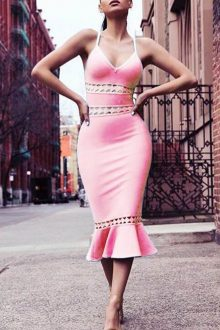Pink V NECK SLEEVELESS STRAP HOLLOW OUT BANDAGE DRESS