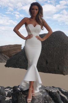 White Maxi Mermaid Strapless Sleeveless Bandage Dress