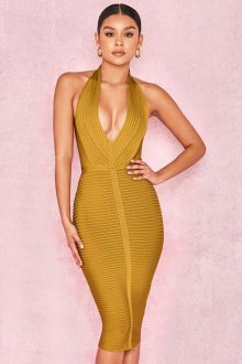 Yellow Sleeveless V Neck Halter Bandage Dress