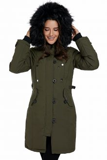 Army Green Plush Fur Hooded Long Parka Coat