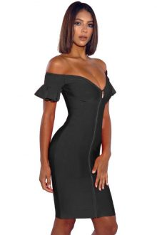 b259a3433e56 Off Shoulder Flared Sleeve Bandage Dress