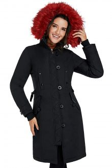 Black Plush Fur Hooded Long Parka Coat