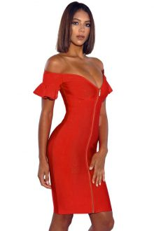 Off Shoulder Flared Sleeve Bandage Dress