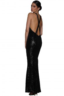 Crisscross Back Sequined Gown