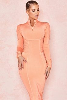 Orange Long Sleeve Neck Zipper Bandage Dress